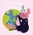 world mental health day girl with planet brain vector image vector image