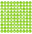 100 comfortable house icons set green circle vector image vector image