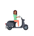 african woman riding electric scooter over white vector image