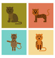 assembly flat icons nature cartoon panther tiger vector image vector image