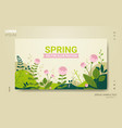 beautiful landscape with flowers and leaves floral vector image