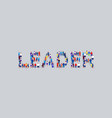 big crowd businesspeople showing leader word vector image vector image