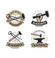 blacksmith forge logo or label workshop iron vector image vector image