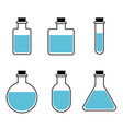 bottles of potion for web game science vector image vector image