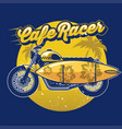 cafe racer with surf board in design summer vector image vector image