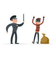 caught thief surrender loot policeman character vector image vector image