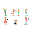 children with gadgets set boys and girls using vector image vector image