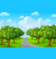 city park with road and town buildings vector image vector image