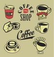 coffee lovers retro vintage design collection vector image