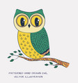 colorful hand drawn owl vector image vector image