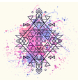 decorative ethnic pattern with watercolor splash vector image vector image