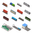 different types train 3d icons set isometric view vector image