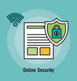 document online security padlock graphic vector image