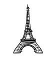 doodle black eifel tower hand drawn vector image vector image