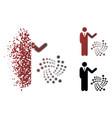 dust pixel halftone businessman show iota icon vector image