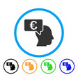euro businessman idea rounded icon vector image vector image