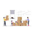 family moving into a new house with things vector image vector image