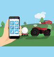 farmer controls autonomous tractor vector image vector image