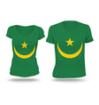 Flag shirt design of Mauritania vector image vector image