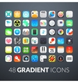 Flat icons gradient style with rounded corners vector image