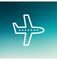 Flying airplane thin line icon vector image vector image