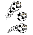 Flying cartooned soccer or football ball vector image vector image