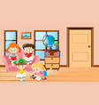 four kids reading book in living room vector image
