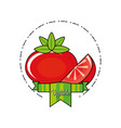 fresh tomato with ribbon isolated icon vector image vector image