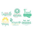 fresh vegan products logo set organic fresh farm vector image vector image