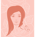 girl face portrait on rose background vector image