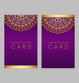 greeting card golden ethnic patterns on violet vector image