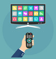 hand holding remote control and watch smart tv vector image vector image