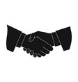 handshakerealtor single icon in black style vector image vector image