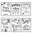happy birthday party cards set lettering text vector image vector image