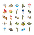 isometric icons of military special forces army vector image