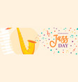 jazz day banner of saxophone music instrument vector image vector image