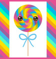 kawaii candy lollipops with bow colorful spiral vector image