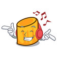 listening music rigatoni mascot cartoon style vector image vector image