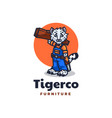 logo tiger furniture mascot cartoon style vector image
