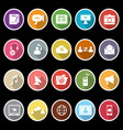 Media icons with long shadow vector image vector image