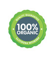 modern green eco badge 100 percent organic label vector image vector image