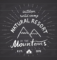 Mountains handdrawn sketch emblem outdoor camping