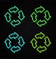 neon recycle ecology icon set on brick background vector image