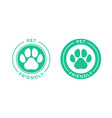 pet friendly logo icon for pets allowed hotel sign vector image vector image