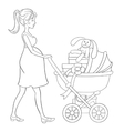 Pregnant woman walks with baby carriage and vector image vector image