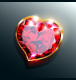 red-heart-jewel-with-gold-frame vector image vector image