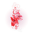red vector flowers with flourishes vector image