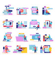 remote students icon set vector image vector image