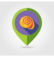 Seashell flat mapping pin icon with long shadow vector image vector image