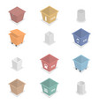 set 3d garbage cans vector image